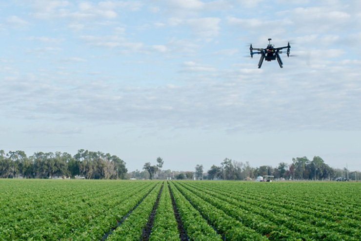 Highland Precision Ag Drone Over Field